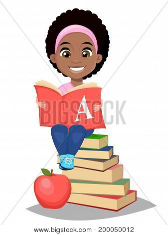 Back to school. Cute Afro-American girl holding primer and sitting on a stack of book. Pretty little schoolgirl. Cheerful cartoon character. Vector illustration