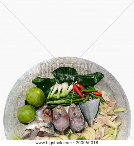 Tuna Menu, Ingredient And Tuna Sliced In Plate On White Background