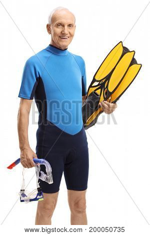 Elderly man in a wetsuit with snorkeling equipment isolated on white background