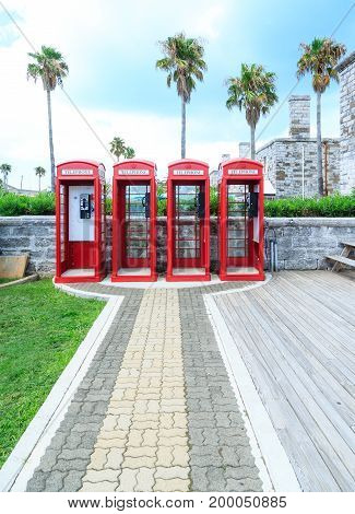 Old classic British red phone booths in Bermuda