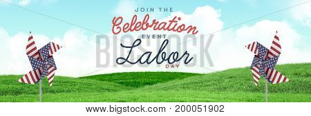 Digital composite of Celebration labor day text and USA wind catchers in front of grass and sky
