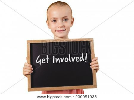 Digital composite of Girl holding blackboard with get involved text