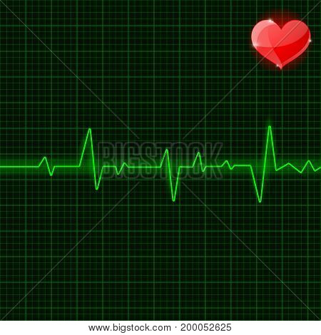Green electrocardiogram. Waves with red heart symbol. Vector 3d illustration