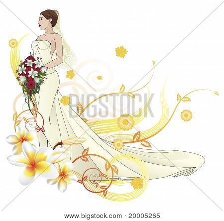 Bride Beautiful Wedding Dress  Floral Background