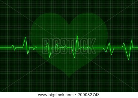 Electrocardiogram. Green waves with heart symbol. Vector 3d illustration