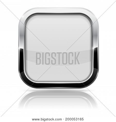 White glass button. Square shiny 3d icon with metal frame. Vector illustration isolated on white background