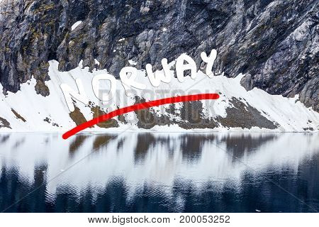 Tourism holidays and travel. Djupvatnet lake in Stranda More og Romsdal Norway Scandinavia. poster