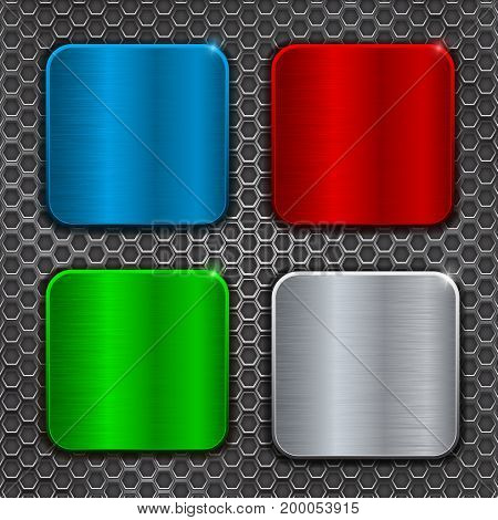 Colored metal brushed square plates on perforation background. Vector 3d illustration