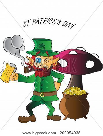 A leprechaun enjoying his pint and smoking his pipe next to a mushroom and a pot of gold on st Patrick's day.
