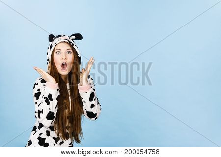 Woman Wearing Pajamas Cartoon Surprised Face