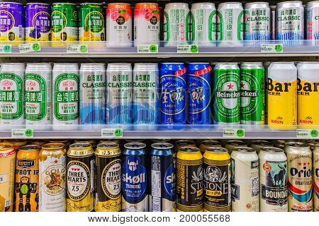 TAIPEI TAIWAN - JUNE 26: This is a Variety of beers which is common in 7-eleven convenience stores across Taiwan on June 26 2017 in Taipei