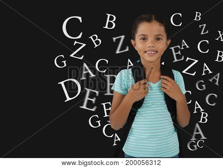 Digital composite of Many letters around Schoolgirl with dark background