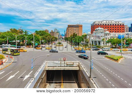 TAIPEI TAIWAN - JUNE 20: This is a view of a city road intersection in the downtown area near Taipei main station on June 20 2017 in Taipei