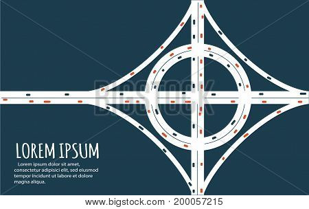 Busy highway road junction. Urban road traffic with cars top view. Overhead view of transport vector illustration. Minimalistic banner.