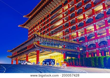TAIPEI TAIWAN - JUNE 11: This is the exterior architecture of the Grand hotel which was built by Chiang Kai-Shek and is an example of traditional Chinese architecture June 11 2017 in Taipei