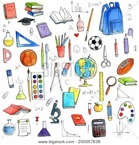 school doodle set, hand drawn isolated watercolor elements