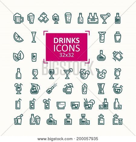 Set of vector illustrations of icons of drinks. Simple signs of alcoholic and refreshing drinks in bottles and glasses, isolated on white