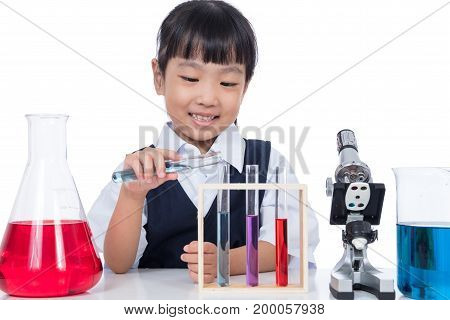 Asian Chinese Little Girl Working With Test Tube
