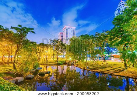 TAIPEI TAIWAN - JUNE 08: This is a park in Banqiao which is located near the Banqiao station and has many office buildings and skyscrapers nearby on June 08 2017 in Taipei
