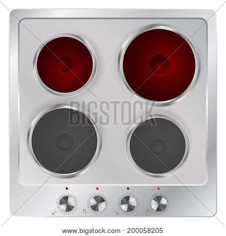 Electric cook top. Modern home appliance. Vector illustration
