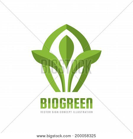 Bio green - vector business logo template concept illustration. Leaves creative sign. Growth environment symbol. Sprout icon. Design element.