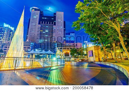 TAIPEI TAIWAN - JUNE 08: This is a view of the Banqiao citizen square in New Taipei with the Banqiao city hall building in the background on June 08 2017 in Taipei