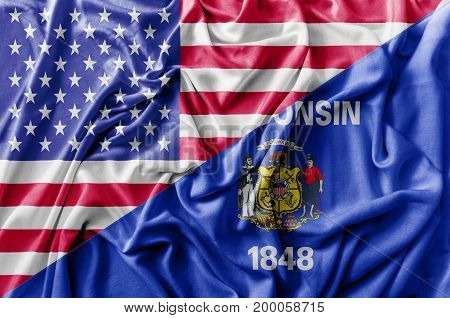 Ruffled waving United States of America and Wisconsin flag