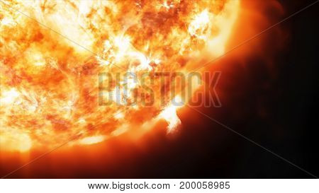 3D rendering coronary emissions and prominences on the Sun in Space
