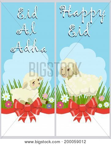 Vector colored posters with lamb and sheep, red bow and congratulatory inscription Eid-al-Adha and Happy Eid for the Muslim holiday. For adults and children.