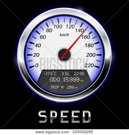 Speedometer with high speed indication. Kilometers per hour. Vector illustration