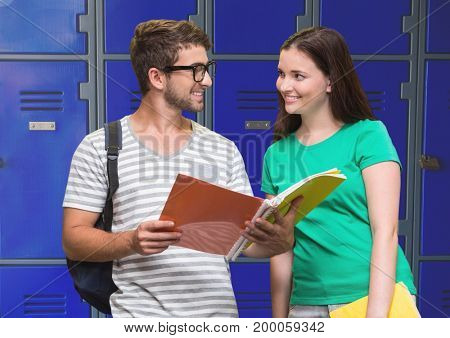 Digital composite of students holding book in front of lockers
