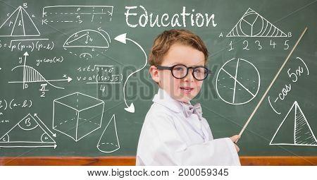 Digital composite of Boy teacher explaining diagrams on blackboard