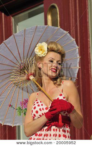 1940S Lady With Umbrella