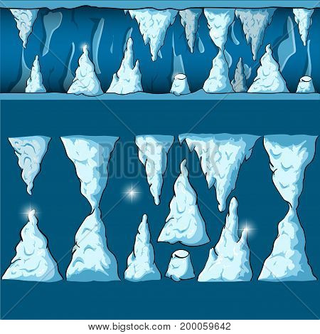Seamless cartoon vector ice and snow cave for game and animation, game design asset