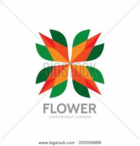 Flower - abstract vector logo template - concept sign. Four colored shapes. Color geometric sign. Star symbol. Design elements.