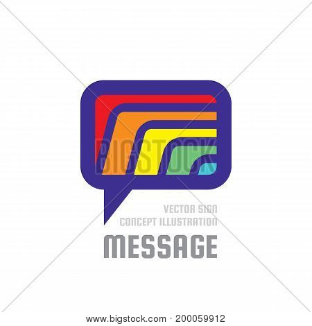 Message - creative vector background illustration. Communication colorful logo template. Speech bubble abstract sign. Social media vibrant color icon. Chat, talking, dialogue, speak design element.