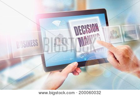 A Businesswoman Selecting A Decision Making Business Concept On A Futuristic Portable Computer Scree