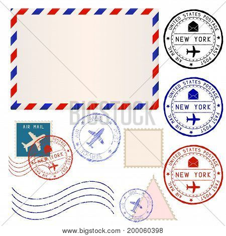 International mail envelope with collection of post stamps marked NEW YORK. Vector illustration isolated on white background