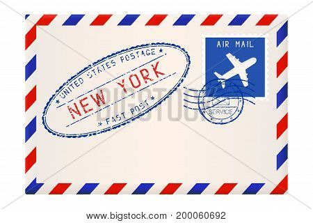 International air mail envelope from NEW YORK. With oval blue postal stamp. Vector illustration isolated on white background