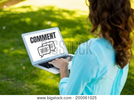 Digital composite of Comment text and chat graphic on laptop screen with woman