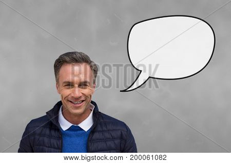Digital composite of Man with speech bubble against grey background