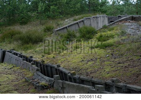 Old military trench in Hel peninsula, Poland