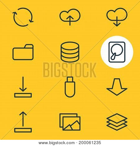 Editable Pack Of Flash Drive, Dossier, Upload And Other Elements.  Vector Illustration Of 12 Memory Icons.