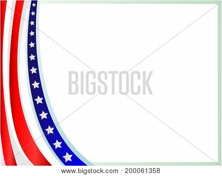 American flag wave frame with empty space for your text and images.