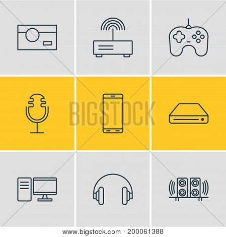 Editable Pack Of PC, Photography, Sound Recording And Other Elements.  Vector Illustration Of 9 Gadget Icons.