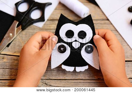 Small child holds a felt owl toy in his hands. Child shows a cute felt owl toy. Teaching kids simple sewing skills at home. Felt sewing crafts idea for kids