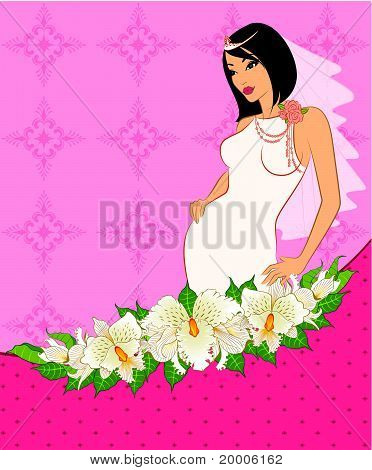 Beautiful bride in white dress. Vector