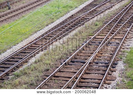 Rails and sleepers iron elictricism trains roads travel time changes