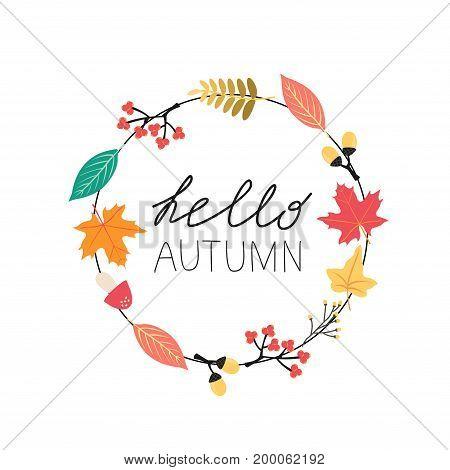 Minimalistic wreath of autumn leaves and handwriting