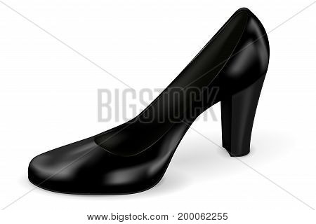 Women black shoe. High heel. Vector 3d illustration isolated on white background
